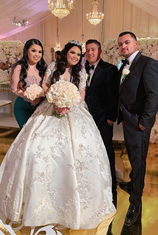 Karina Garcia wearing her wedding dress from Mon Amie