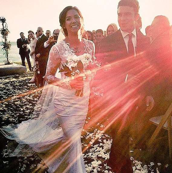 Alex Morgan wearing her wedding dress from Mon Amie